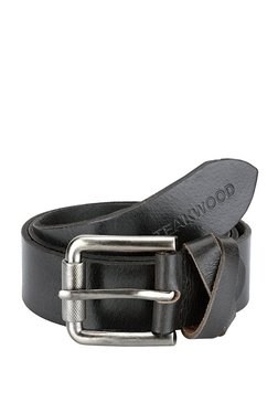 Teakwood Leathers Black Solid Leather Narrow Belt - Mp000000002350325