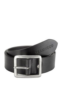 Teakwood Leathers Black Solid Leather Narrow Belt - Mp000000002350046