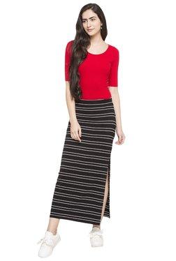 Globus Black Striped Midi Skirt