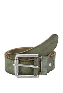 Teakwood Leathers Green Perforated Leather Narrow Belt