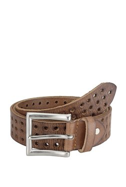 Teakwood Leathers Brown Perforated Leather Narrow Belt - Mp000000002350584
