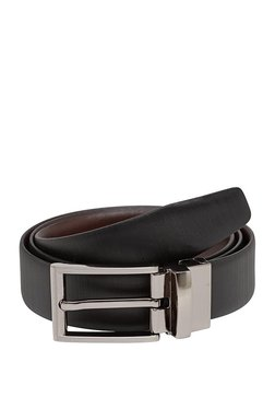 Teakwood Leathers Black Textured Leather Narrow Belt - Mp000000002350679