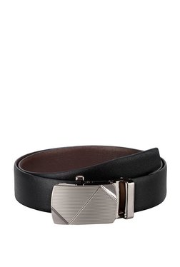 Teakwood Leathers Black Textured Leather Narrow Belt - Mp000000002350515