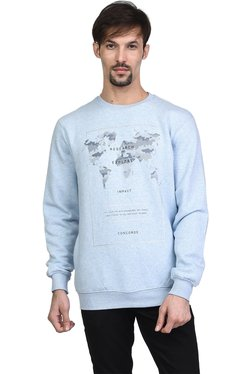 Octave Sky Blue Round Neck Full Sleeves Sweatshirt