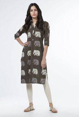 Utsa By Westside Dark Grey Elephant Print Kurta