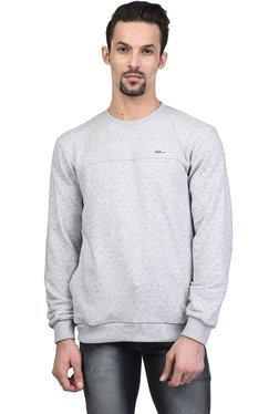 Octave Light Grey Printed Round Neck Full Sleeves Sweatshirt