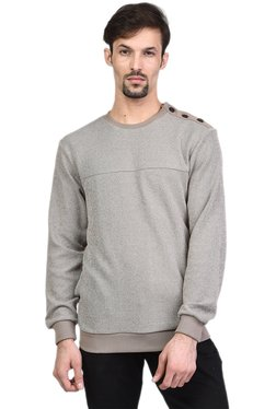 Octave Grey Round Neck Full Sleeves Sweatshirt
