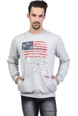 Octave Grey Printed Round Neck Full Sleeves Sweatshirt