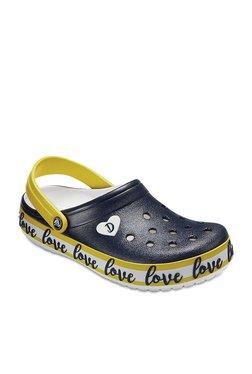 Crocs Drew X Crocband Navy & Yellow Back Strap Clogs