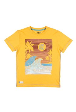 d2e7322e6c1 Gini   Jony Kids Palm Tree Yellow Printed T-Shirt