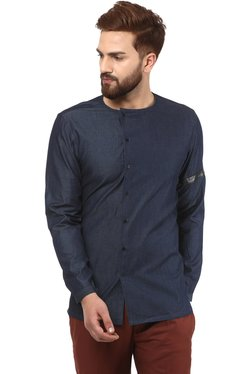Mr Button Navy Slim Fit Shirt