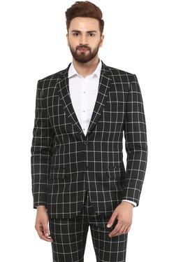 Mr Button Black Slim Fit Checks Blazer
