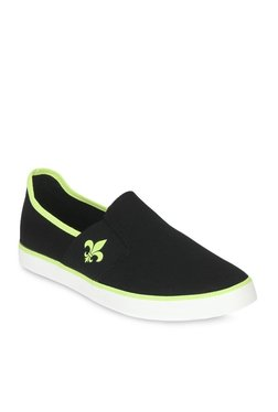 Bond Street By Red Tape Black & Lime Green Slip-Ons