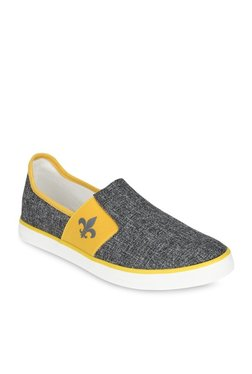 Bond Street By Red Tape Charcoal Grey & Yellow Slip-Ons