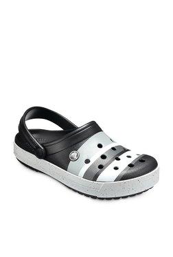 Crocs Crocband Color Burst Black & Grey Back Strap Clogs