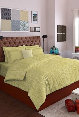 19534f23ac Spaces Sage Green Self Design Cotton Double Bed Sheet Set
