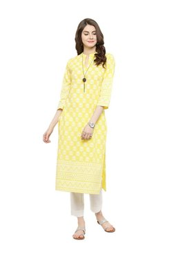 f425c7a696 Varanga Yellow Printed Cotton Kurta