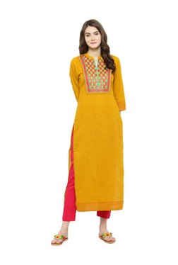 Varanga Mustard & Red Embroidered Kurta With Pants