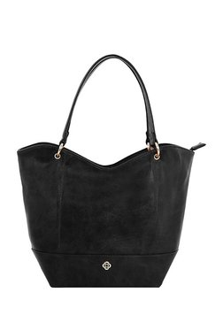 CERIZ Black Paneled Shoulder Bag