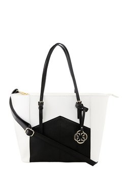 CERIZ White & Black Color Block Tote
