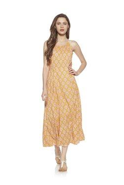 Zudio Yellow Slim Fit Printed Strapped Dress