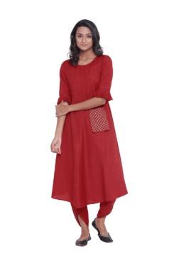 9rasa Red Rayon Viscose Kurta With Dhoti Pants