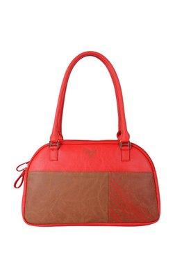 Baggit Luben Bindas Scarlet Red & Brown Printed Shoulder Bag