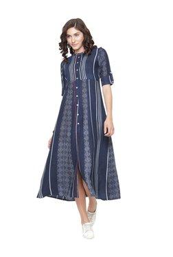 Varanga Blue Printed Cotton Dress