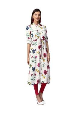 Jaipur Kurti White & Pink Floral Print Rayon Kurta