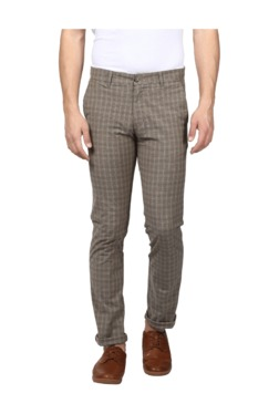 Parx Khaki Slim Fit Flat Front Trousers