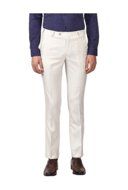 Park Avenue White Slim Fit Flat Front Trousers