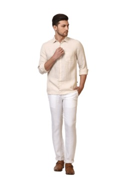 Parx White Slim Fit Flat Front Trousers