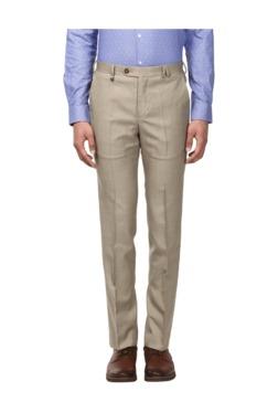 Park Avenue Khaki Slim Fit Flat Front Trousers