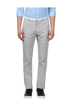 ColorPlus Off White & Black Regular Fit Flat Front Trousers