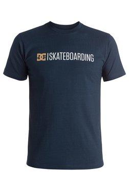 DC Dark Blue Printed Short Sleeves Cotton T-Shirt