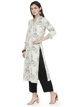 Varanga Off White & Black Cotton Blend Kurta With Pants