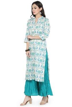 Varanga Off White & Turquoise Cotton Kurta With Palazzo