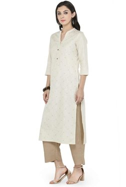 Varanga Off White & Beige Cotton Blend Kurta With Pants