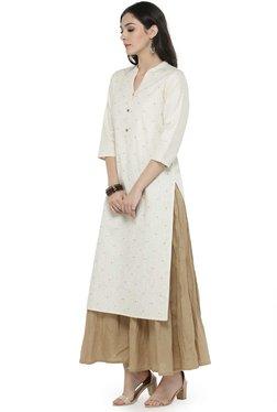 Varanga White & Beige Cotton Blend Kurta With Palazzo
