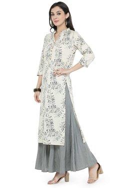 Varanga White & Grey Cotton Blend Kurta With Palazzo