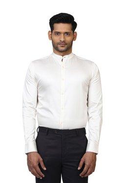 Colorplus White Regular Fit Full Sleeves Band Collar Shirt