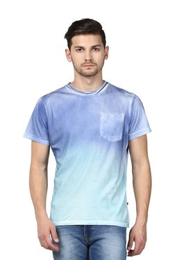 Parx Light Blue Cotton Regular Fit T-Shirt