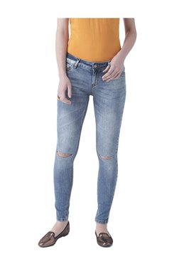 Fusion Beats Blue Skinny Fit Distressed Jeans