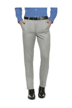 Peter England Grey Slim Fit Flat Front Trousers - Mp000000003115556