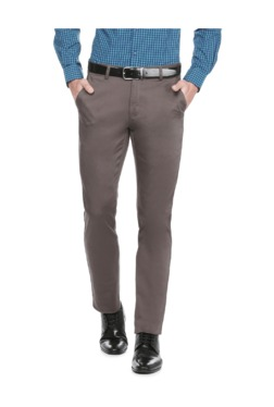 Peter England Grey Slim Fit Flat Front Trousers - Mp000000003115584