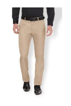 Van Heusen Khaki Slim Fit Flat Front Trousers