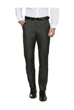 Peter England Grey Slim Fit Flat Front Trousers - Mp000000003115222