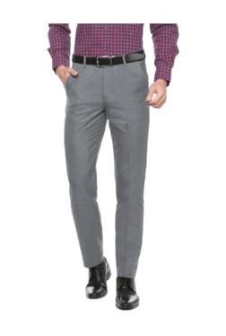Peter England Grey Slim Fit Flat Front Trousers - Mp000000003115612
