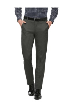 Peter England Grey Slim Fit Flat Front Trousers - Mp000000003115486