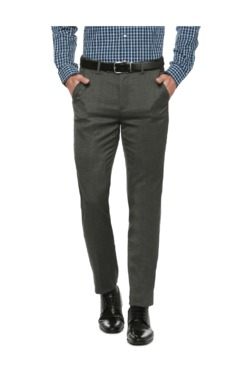 Peter England Grey Slim Fit Flat Front Trousers - Mp000000003115722